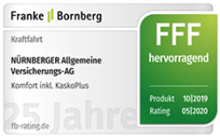 """Siegel Franke Bornberg - Note hervorragend für KFZ-Versicherung """"Komfort inkl. Kasko Plus"""" durch Ratingagentur Franke und Bornberg"""